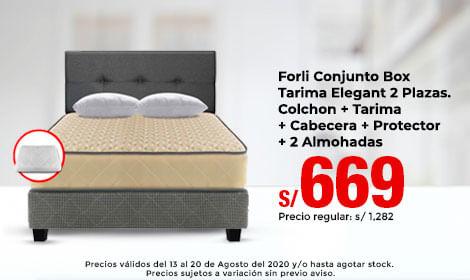 Forli Conjunto Box Tarima Elegant 2 Plazas. Colchon + Tarima  + Cabecera + Protector + 2 Almohadas