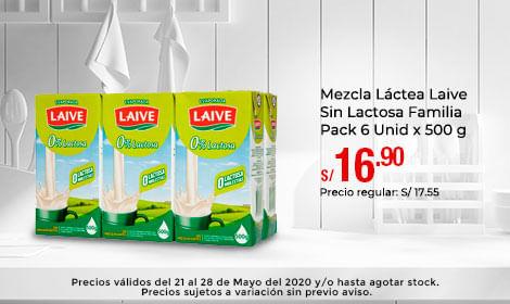 Mezcla Láctea Laive Sin Lactosa Familia Pack 6 Unid x 500 g