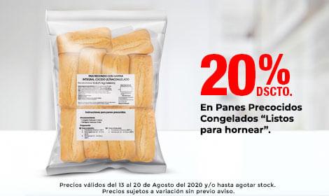 20% Dscto en Panes Precocidos Congelados (Listos para hornear)