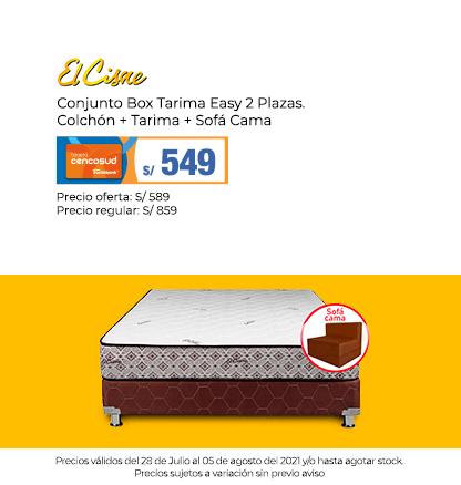 Conjunto Box Tarima Easy 2 Plazas. Colchón + Tarima + Sofá Cama  (Logo El Cisne)