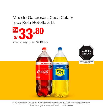 Mix de Gaseosas: Coca Cola + Inca Kola Botella 3 Lt