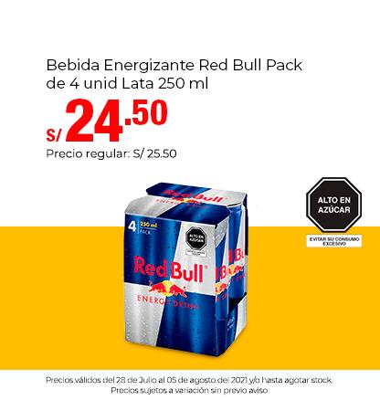 Bebida Energizante Red Bull Pack de 4 unid Lata 250 ml