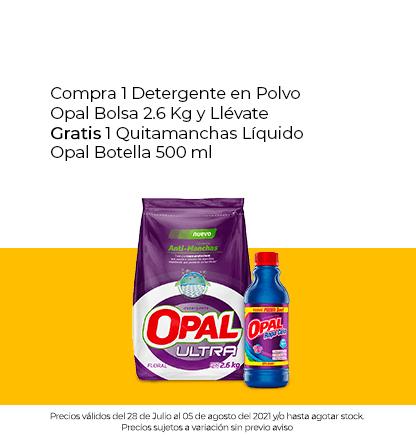 Compra 1 Detergente en Polvo Opal Bolsa 2.6 Kg y Llévate Gratis 1 Quitamanchas Líquido Opal Botella 500 ml